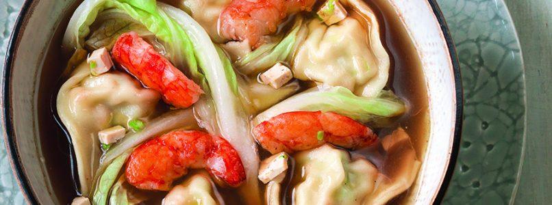 Ricetta Tortelli di pesce e tofu in brodo di gamberi