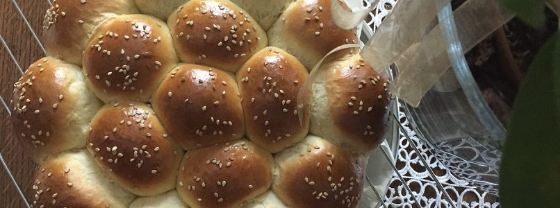 Brioche a panino con formaggio e prosciutto