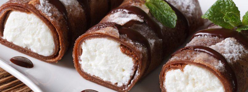 Crêpes al cacao ripiene di ricotta