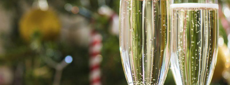 Menu delle feste natalizie a base di champagne