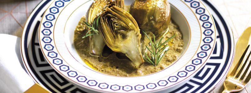 Ricetta Carciofi con crema dei loro gambi e olio al rosmarino