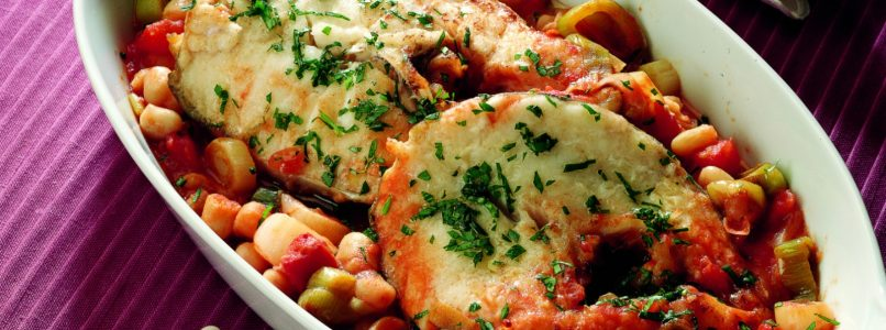 Ricetta Merluzzo fresco con cannellini e pomodoro