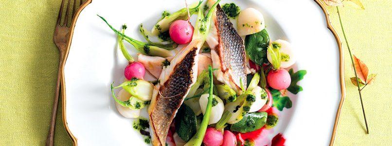 Ricetta Spigola e verdure a vapore con salsa verde